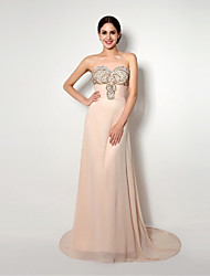 Formal Evening Dress A-line Sweetheart Sweep / Brush Train Chiffon with