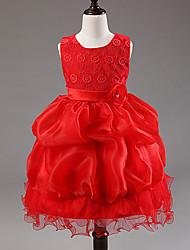Girl's  Fashion Leisure Flowers Sleeveless  Formal Dress