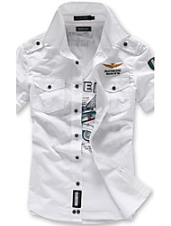 Men's Casual/Work/Formal High Quality Air Force Nice Pure Short Sleeve Shirts (100% Cotton)