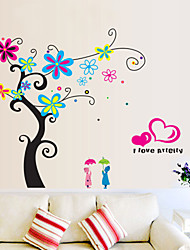 estilo de decalques de parede adesivos de parede de flor de parede romântico pvc árvore adesivos