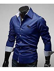 Camisas de Vestir ( Algodón )- Casual Escote en V Manga Larga para Hombre