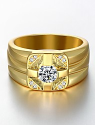 AAA Zirconium Drill 18 K Gold Plating High Quality Diamond Ring Men's Women's Jewelry