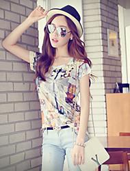 Informell/Bedruckt Rund - Kurzarm - FRAUEN - T-Shirts ( Polyester )