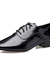 Men's Dance Shoes Latin Patent Leather Low Heel Black