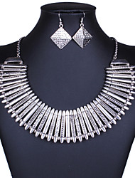 Europe and the United States big exaggerated fashion and personality national wind restoring ancient ways geometric alloy earrings necklace set # 0228