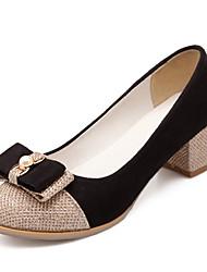 Women's Shoes Glitter Chunky Heel Heels/Closed Toe Pumps/Heels Office & Career/Dress/Casual White/Gold