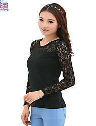 Waboats Women Lace Long Sleeve Slim Tunic Shirt