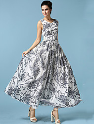 Women's Print / Plus Sizes / Maxi Floral / Patchwork Swing / A Line Dress , Round Neck Maxi Chiffon