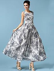 Платье - Макси - Шифон - С принтами/Большие размеры/Макси