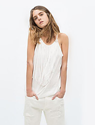 Women's Solid White/Black T-shirt , Halter/Round Neck Sleeveless Tassel