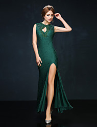 Prom / Formal Evening Dress Trumpet / Mermaid High Neck Ankle-length Lace / Charmeuse with Beading / Lace