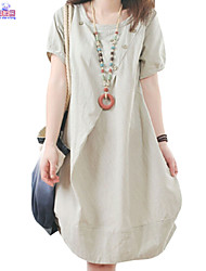Lady Summer Women Cusual Loose Round Neck Cotton & Linen Dress  Clothes