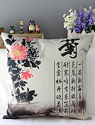 Chinese Style Ink Painting Chrysanthemum Patterned Cotton/Linen Decorative Pillow Cover
