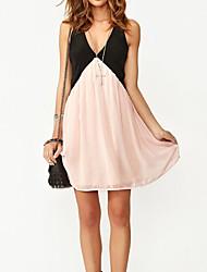 Women's Pink Dress,Sexy Strap/V Neck