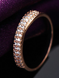 Gorgeous Women's Rose Gold Alloy with Clear Crystals Wedding Jewelry Cubic Zirconia Ring (with Gift Box)