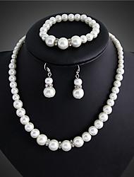 DANBI Women's Fashion Inlaid Pearls Necklace Earrings Bracelet Bridal Set