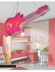 Pink Guitar Pattern Pendant With 2 Lights for Kids' Room