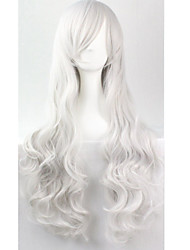 Cos Anime Bright Colored Wigs Long Curly Silver Hair Wig 80 cm