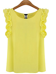 Women's Solid Yellow Blouse,Round Neck Sleeveless