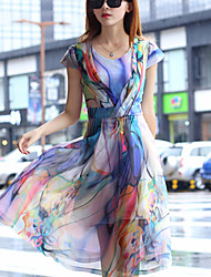 Robe Aux femmes Grandes Tailles Bohème,Imprimé Col Arrondi Midi Polyester