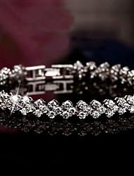 Unisex Silver Chain With Cubic Zirconia Bracelet
