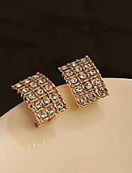 Rounded Rectangle Contracted Rhinestone Stud Earrings