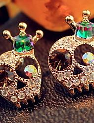 Dazzle Colour Skulls Crown Earrings