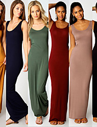 Nikki  Women's Solid Color Blue / Red / Black / Green / Yellow Dresses , Bodycon / Casual Round Sleeveless