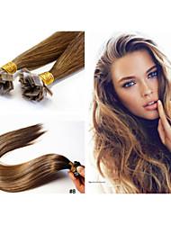 """1pc 18""""-30"""" Brazilian Human Hai Flat Tip Kertain Glue Hair Extension 100g/pc 1g/strand Straight Hair"""
