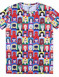 European Style TEE Digital Printing 3D T-shirt Wrinkled Masked Man Spider Man Black Woman Harajuku Sleeved T-shirt