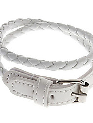 Long Braided Leather Bracelet(White)
