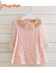 Girls' Long Sleeve Sequins Collar Lace Princess Dress(Cotton + Lace)