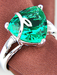 Friend Gift Fire Triangle Green Quartz Gem 925 Silver Statement Rings For Wedding Party Daily Casual 1pc