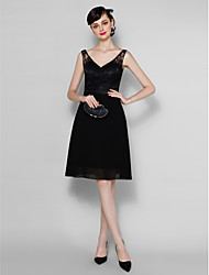 Lanting Knee-length Chiffon / Lace Bridesmaid Dress - Black Plus Sizes / Petite A-line V-neck