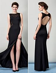 TS Couture Formal Evening Dress - Black Sheath/Column Bateau Floor-length