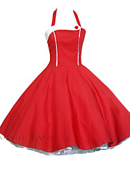 Maggie Tang Women's Red/Black Halter 50s Vintage Pinup Housewife Rockabilly Swing Dress