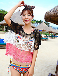 Women's O-neck Short Sleeve Splicing Color Hollow Out Crochet Lace Bikini Cover-up Swimwear