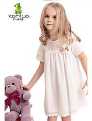 KAMIWA ® Girl's Summer Hollowed-out White Lace Flowers Dresses Teen Short Sleeve Skirts Kids Clothes Children Clothing