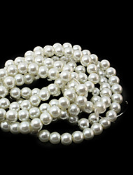 Beadia 3 Str(approx 430pcs) Glass Beads 6mm Round Imitation Pearl Beads Ivory Color DIY Spacer Loose Beads