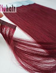 Couleur d'16inch -24inch 20pcs bande en trame de la peau réelle extensions de cheveux humains #burgundy