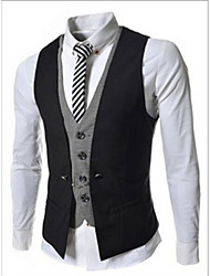 first brand Men's Suits & Blazers , Cotton Blend Sleeveless Casual