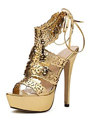 Women's Shoes Glitter Stiletto Heel Platform/Open Toe Sandals Casual Silver/Gold