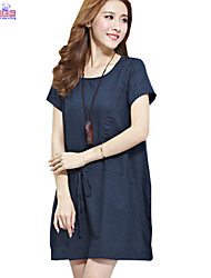 Lady Summer Women Cusual Loose Round Neck Ethnic Solid Dress Clothes