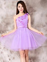 Dress - Purple Ball Gown One Shoulder Short/Mini Lace