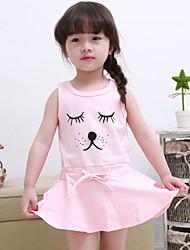 Girl's Summer Cute Print Sleeveless Dress (Cotton Blends)