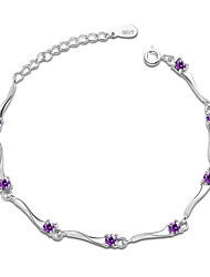 Jazlyn Authentic Platinum Plated 925 Sterling Silver Woman Water Weave Purple Cubic Zirconia Link Chain Bracelet