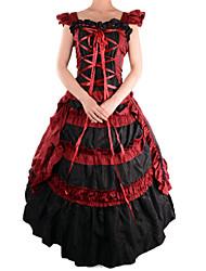 retro de algodón sin mangas de color rojo&tergal traje del lolita