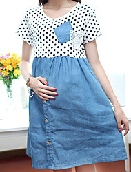 Maternity Sweet Denim Stitching Polka-dots Dress