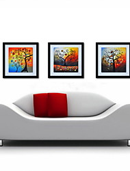 Oil Painting Decoration Abstract Lucky Tree Hand Painted Canvas with Stretched Framed - Set of 3