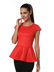 T-Shirts ( Coton mélangé/Autres/Soie/Sergé ) Informel/Travail Rond à Manches courtes pour Femme